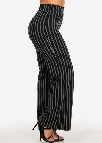 Image of High Waisted Stripe Black Dressy Pants