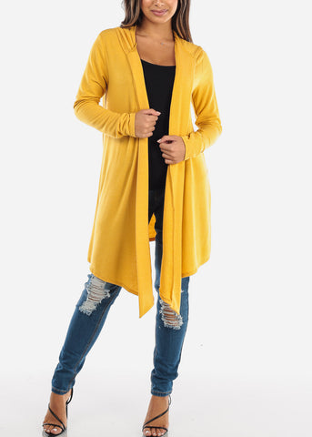 Yellow Long Hooded Cardigan BT2333MUST