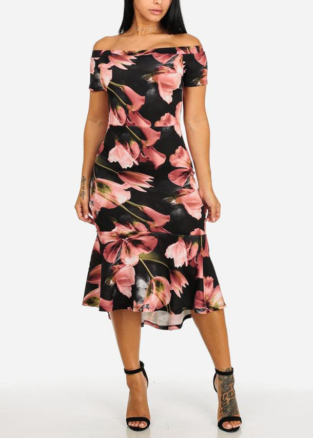 Off-Shoulder Pink Floral Elegant Midi Dress