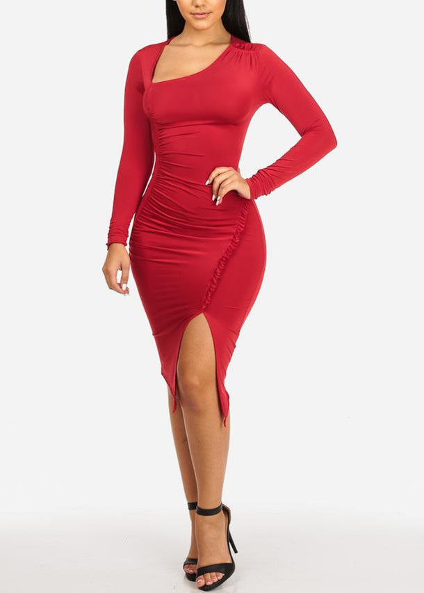 Red Ruched Bodycon Dress