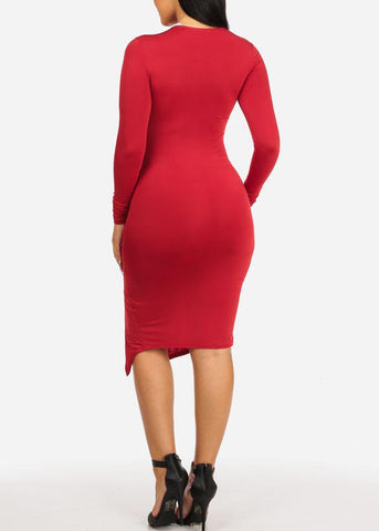 Image of Red Ruched Bodycon Dress