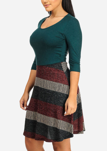 Image of Dark Green Stripe Dress