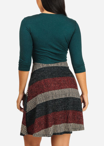 Dark Green Stripe Dress