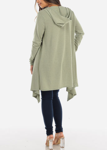 Green Long Hooded Cardigan BT2333OLV