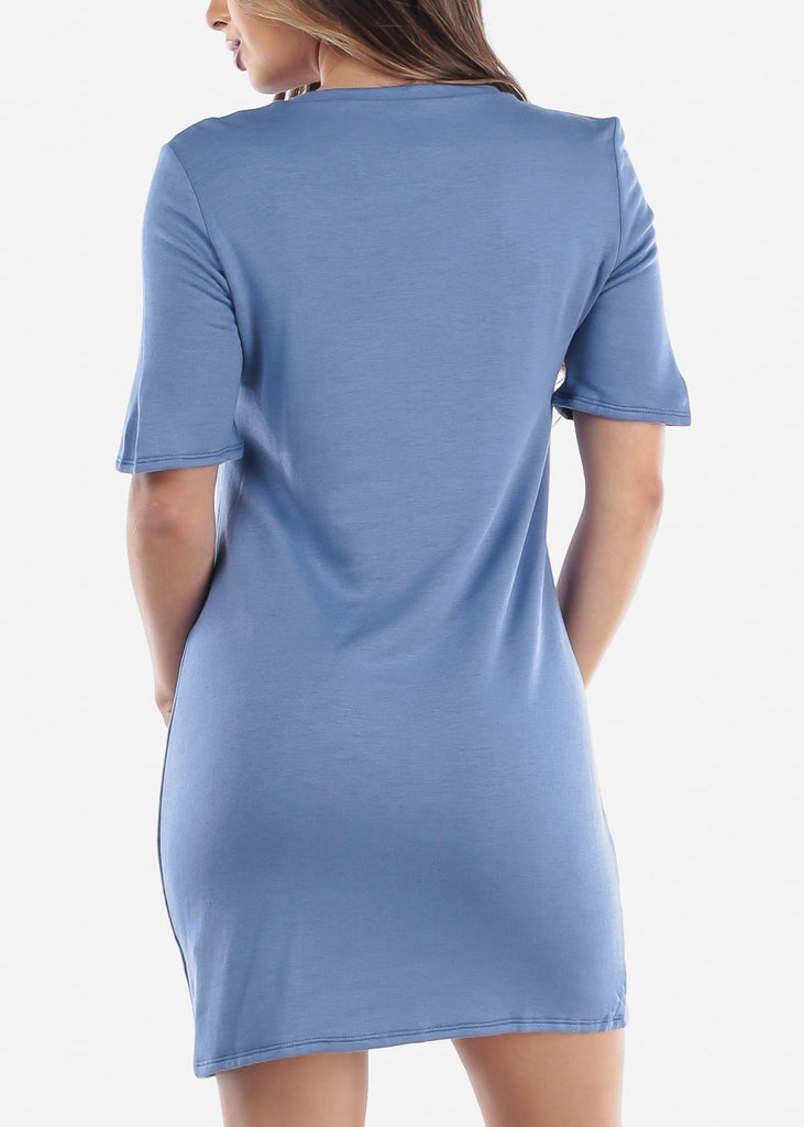 Women's Junior Ladies Casual Going Out Stretchy Comfy Short Sleeve T Shirt Blue Dress Clearance Sale