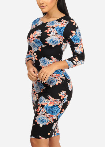 Blue Rose Bodycon Dress