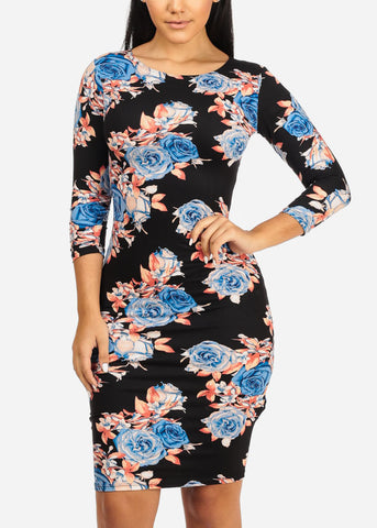 Image of Blue Rose Bodycon Dress
