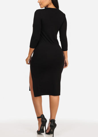 Image of Black Side Slit Bodycon Dress