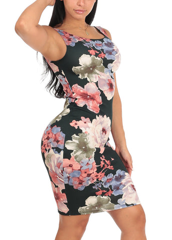 Sexy Slim Fit Bodycon Sleeveless Floral Print Black Midi Knee Length Stretchy Dress