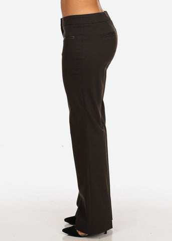 Women's Stylish Office Business Wear Straight Leg Low Rise Career Wear Brown Dressy Pants