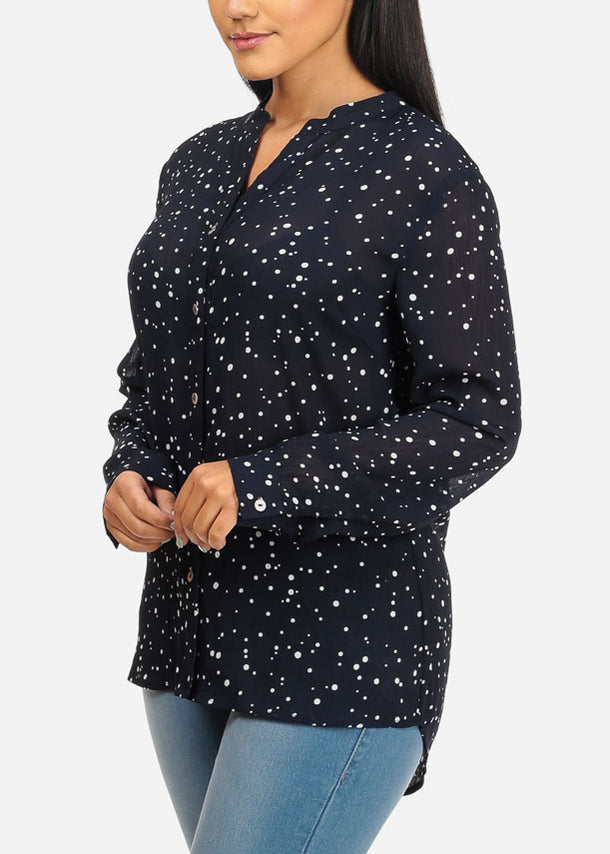 See Through Polka Dot Navy Top