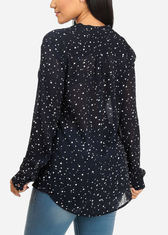 Image of Polka Dot Navy Top