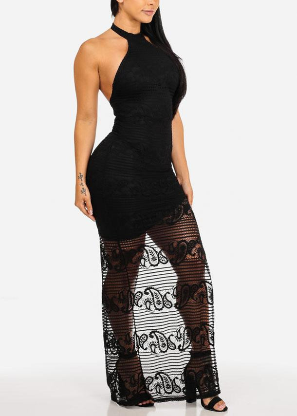Side Slit Black Evening Maxi Dress