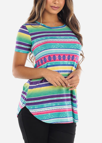 Multi Color Striped V-Neck Shirt
