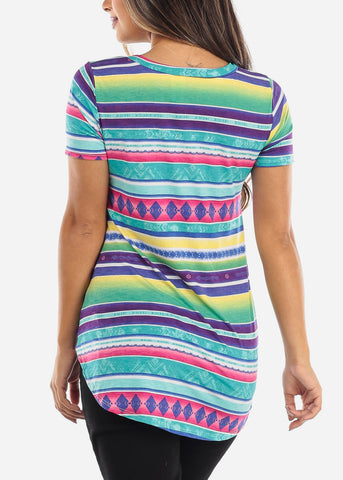 Image of Multi Color Striped V-Neck Shirt