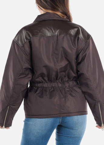 Image of Brown Elastic Waist Winter Jacket