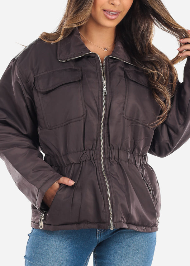 Brown Elastic Waist Winter Jacket
