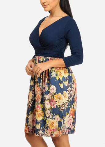 Wrap Front Floral Navy Dress