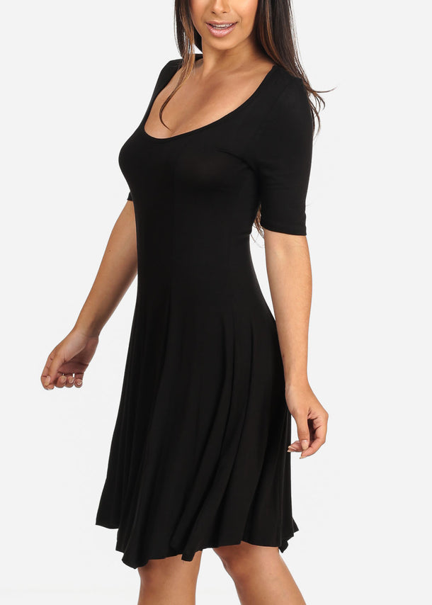Casual Flare Black Dress