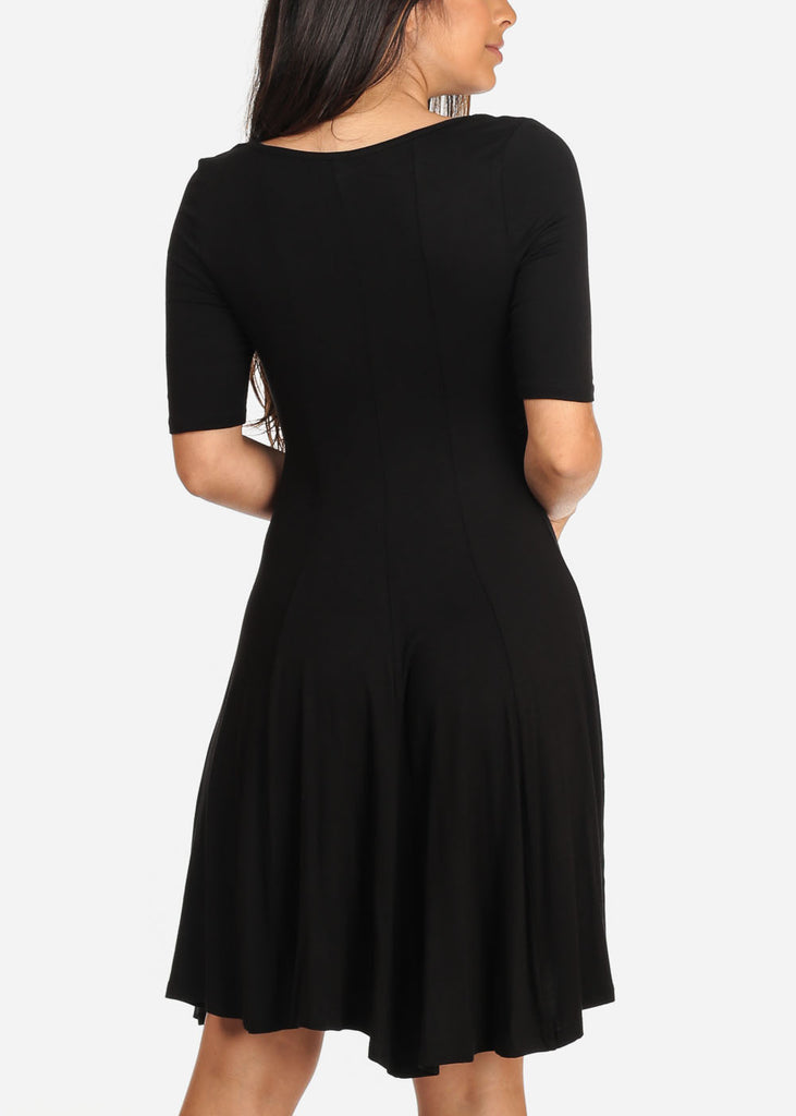 Women's Junior Ladies Casual Cute Fit And Flare Stretchy Solid Black Short Sleeve Midi Dress