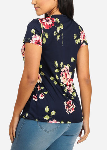 Image of Tie Front Floral Navy Top