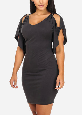 Stylish Flare Grey Bodycon Dress