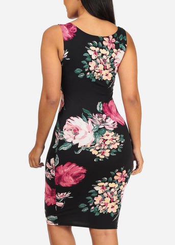 Image of Floral Print Black Bodycon Dress