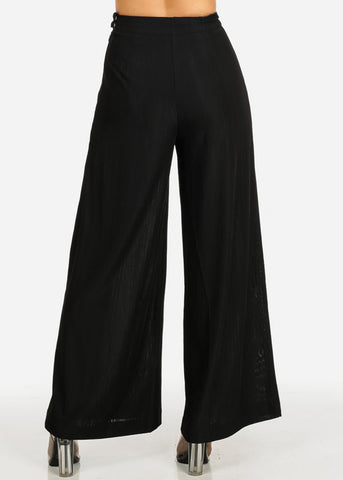 Black Lightweight Wide Leg Pants