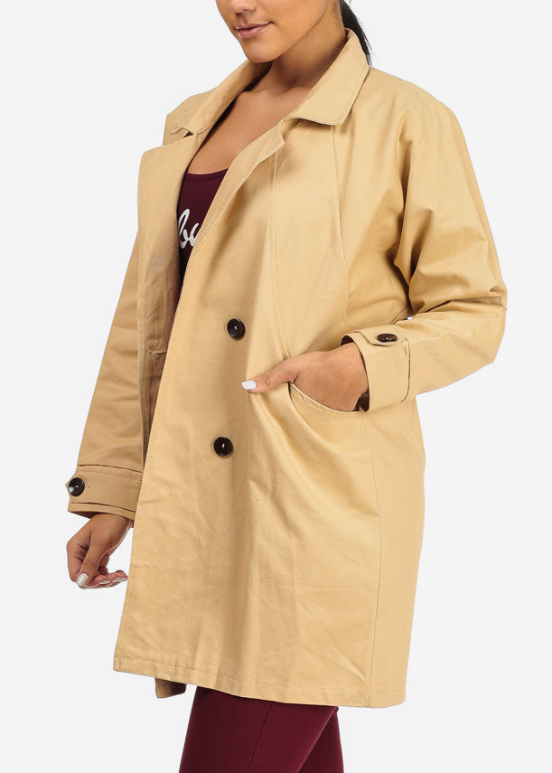 Front Pockets Beige Trench Coat