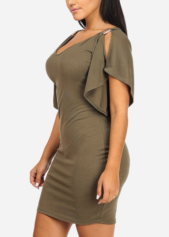 Image of Stylish Flare Olive Bodycon Dress