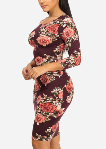Burgundy Rose Bodycon Dress