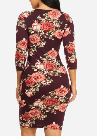 Image of Burgundy Rose Bodycon Dress
