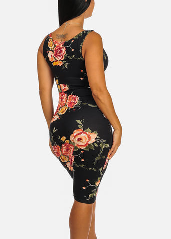 Clubwear Slim Fit Knee Length Black Floral Print Bodycon Dress