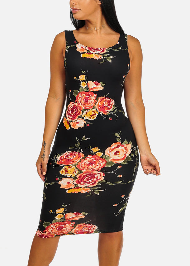 Black Bodycon Floral Print Dress