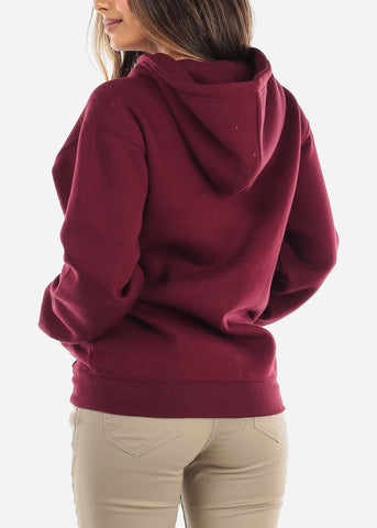 Image of Burgundy Zip Up Hoodie