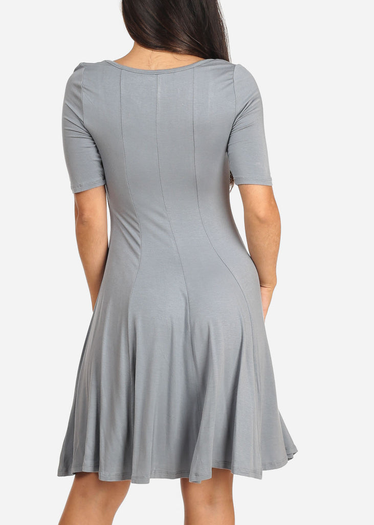 Women's Junior Ladies Casual Short Sleeve Stretchy Comfortable Round Neckline Flare Grey Dress