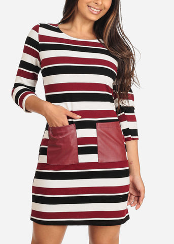 Image of Women's Junior Ladies Casual Cute Multicolor Stripe White And Burgundy All Over Stripe Above Knee Dress With Front Pockets