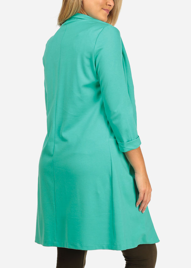Long Mint Open Front Coat