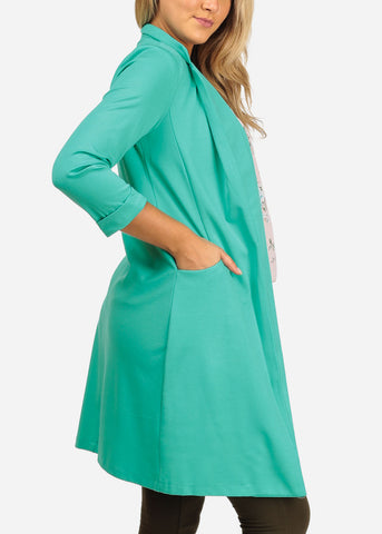 Women's Junior Stylish Trendy Open Front Classic Longline Mint Trench Coat Long Blazer With Pockets