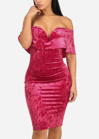 Image of Off-Shoulder Velvet Evening Dress