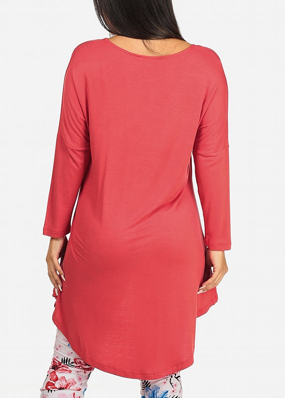 High Low Light Red Tunic Top