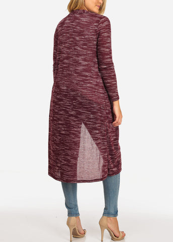 Image of Women's Junior Stylish Cozy Long Sleeve Open Front Heather Print Burgundy Maxi Cardigan