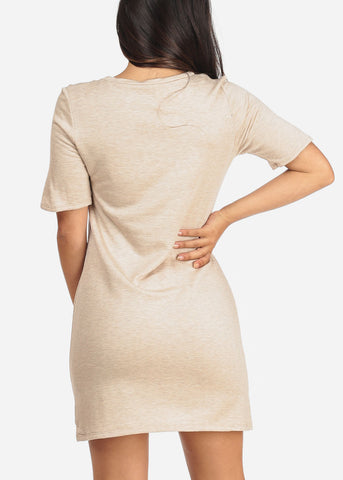 Image of Women's Junior Ladies Casual Going Out Stretchy Comfy Fleece Short Sleeve Round Neckline T Shirt Beige Cream Dress