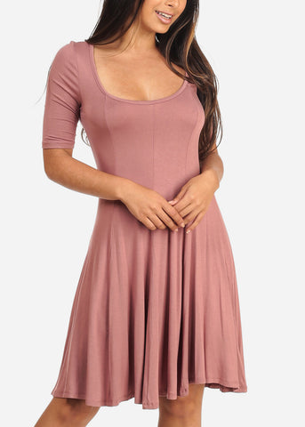 Image of Women's Junior Ladies Casual Short Sleeve Stretchy Comfortable Round Neckline Flare Mauve Dress