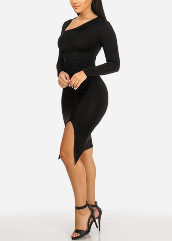 Image of Black Ruched Bodycon Dress