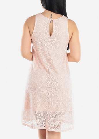 Image of Sleeveless Floral Lace Blush Dress