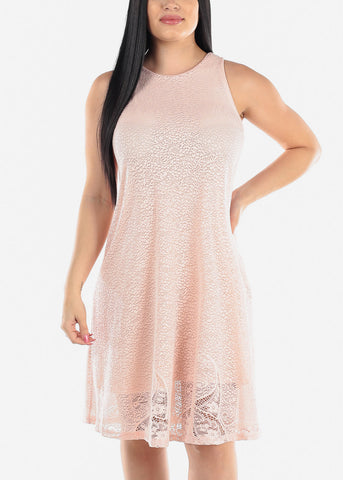 Sleeveless Floral Lace Blush Dress