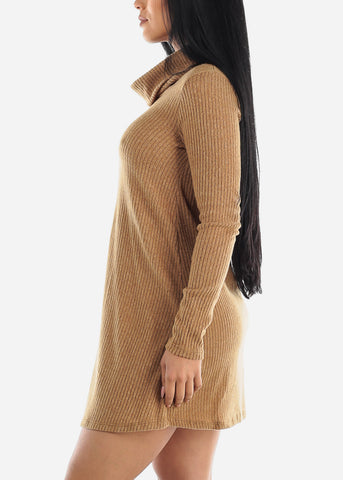 Long Sleeve Mustard Sweater Dress