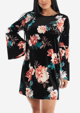 Suede Black Floral Dress