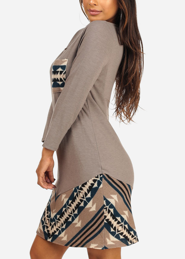 Casual Long Sleeve Round Neckline Aztec Print Grey Dress
